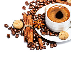Coffee cup and beans isolated on white background closeup with c