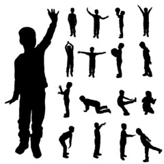 Vector silhouette of a boy.