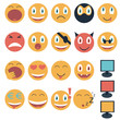 Постер, плакат: Vintage set of glossy Emoticons