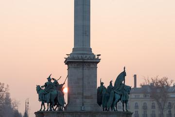 The Millenium Memorial at sunset, Budapest, Hungary