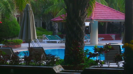 View of swimming pool in the resort hotel.