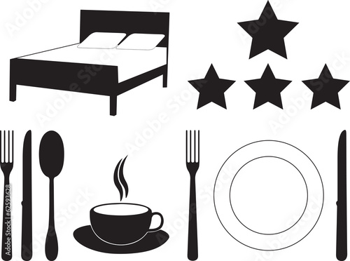 Hotel and motel services set illustrated on white