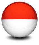 A ball with the flag of Indonesia and Monaco