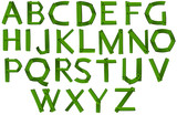 Green colored letters of the alphabet
