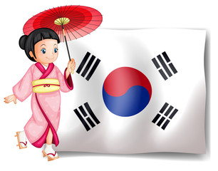 A South Korean girl beside their flag