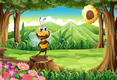 A stump at the jungle with a bee