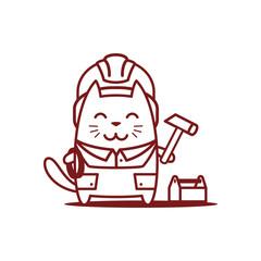 Character builder in helmet and coveralls line art