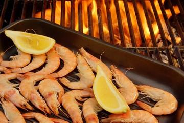 Grilled Shrimps on open BBQ fire, XXXL