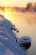 Winter sunset with boat. Зимний закат с лодкой
