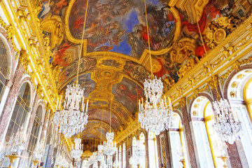 Interior Chateau of Versailles,Mirrored Ballroom , Paris, France