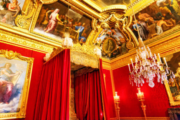 Interior of Queen's bedroom  in Chateau of Versailles, Paris, Fr