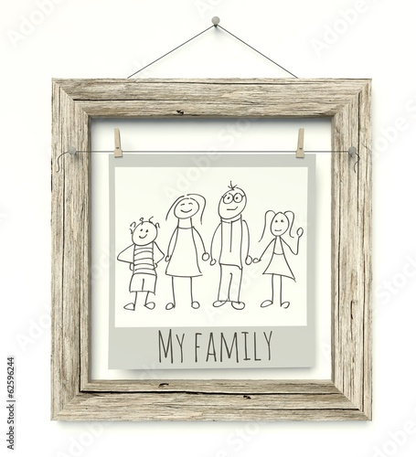 Old wooden photo frame Family Sketch