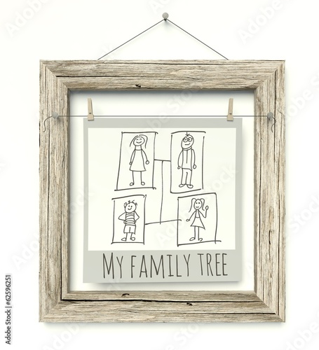 Old wooden photo frame Family Tree