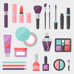 Set of colored cosmetics icons in flat style.