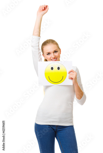 Girl with positive placard