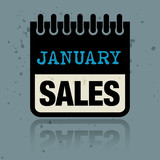 Calendar label with the words January Sales written inside