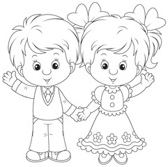 Little boy and girl waving their hands in greeting