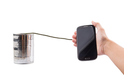 Smart Phone And Tin Can Telephone