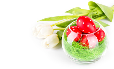 Easter eggs with tulips on white with clipping path