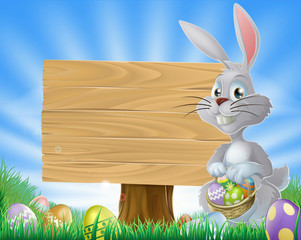 Easter eggs bunny and sign