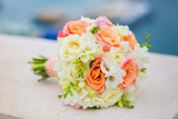 colorful wedding flowers bouquet of bride