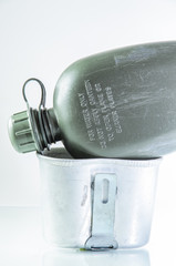 Army green canteen against a white background