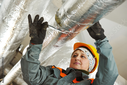female insulation worker