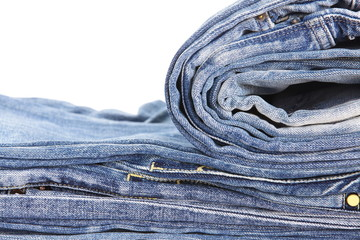 Lot of different blue jeans close - up
