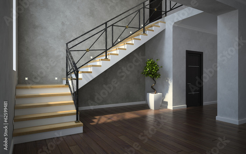 Part of the classical interior, staircase view with plant and do