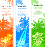 summer vacation vector banners with palm tree
