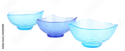 Empty glass bowls isolated on white
