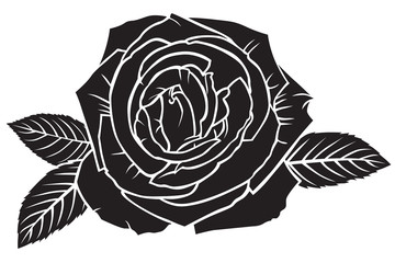 Silhouette lush rose flower