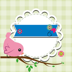 Vector bird on branch and frame for your text