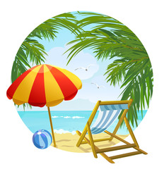 icon to the beach and sun lounger