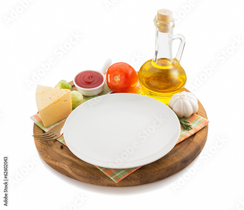 food ingredient at wooden tray