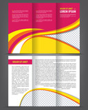 Vector trifold pink brochure print template design poster