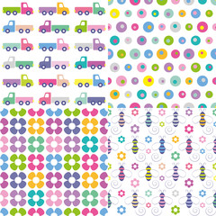 trucks, polka dot, flowers and bees pattern collection
