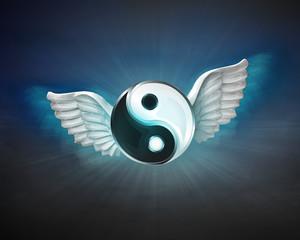 harmony with angelic wings flight in dark sky