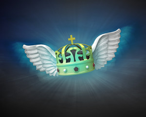 royal crown with angelic wings flight in dark sky