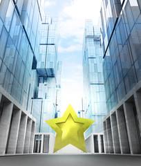 golden star rating in new modern business city street