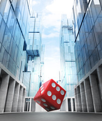 red fortune dice in new modern business city street