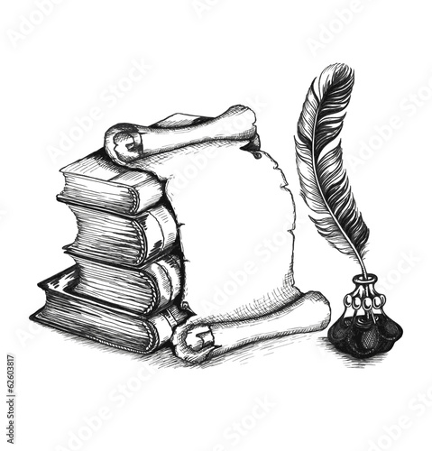Academic and education set: books, scroll, pen