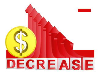 golden Dollar coin with red descending arrow graph vector