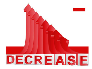 red descending arrow graph with text vector