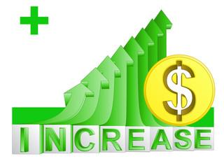 golden Dollar coin on green rising arrow graph vector