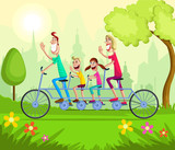 Happy family enjoying tandem bicycle ride