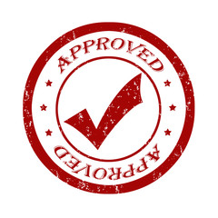 Approved grunge rubber stamp on white, vector illustration