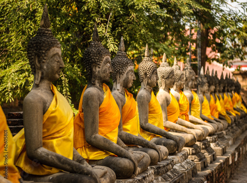 Buddha statues in old Temple Wat  Thailand