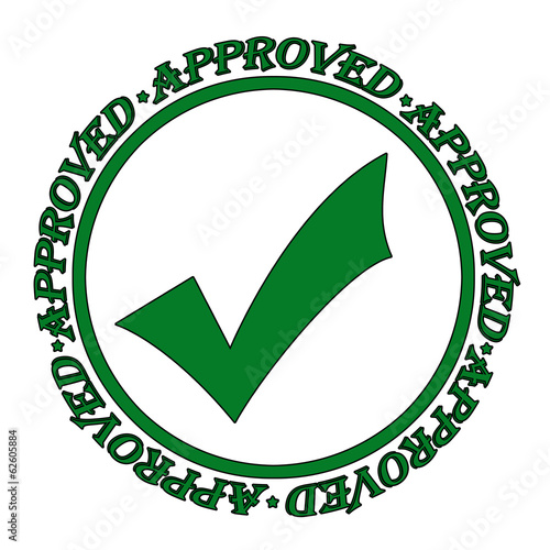 Approved green grunge rubber stamp on white, vector illustration