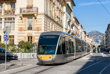 Tram on a street of Nice - French Riviera